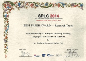 SPLC14 best paper award